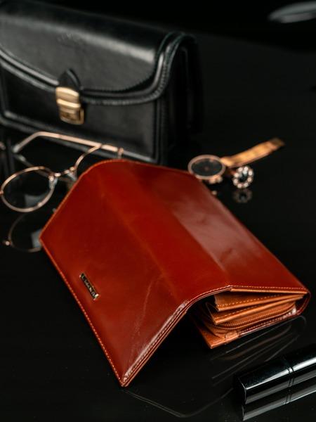 Velká dámská kožená peněženka Cita, hnědá