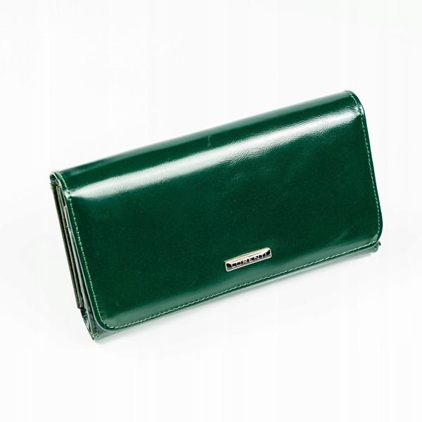 Větší moderní kožená peněženka Cary, tmavě zelená