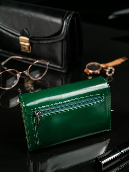 Moderní tmavě zelená kožená peněženka Clay