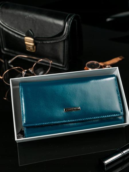 Klasická prostorná kožená peněženka Breta, modrá