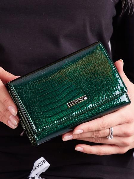 Lesklá kožená peněženka Ren, zelená