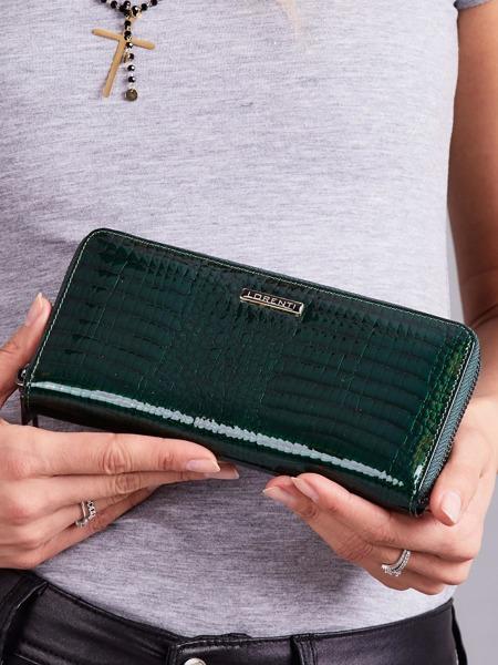 Lesklá kožená peněženka na zip Cloa, zelená