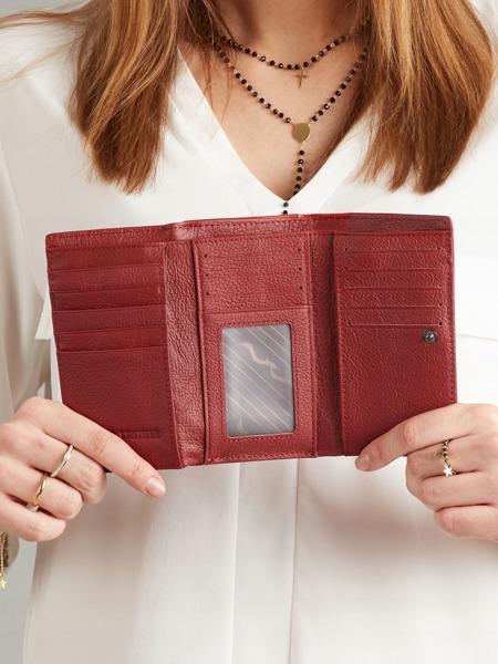 Lakovaná kožená dámská peněženka se vzorem květin, červená