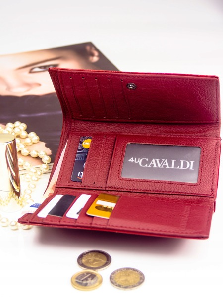 Kožená lakovaná peněženka se vzorem, červená