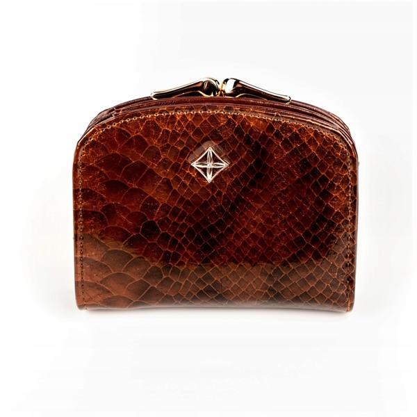 Luxusní dámská peněženka Evelyn, lesklá hnědá