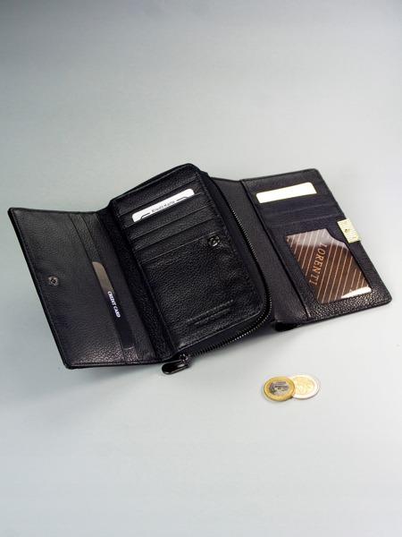 Zajímavá kožená lesklá peněženka Eva, černá