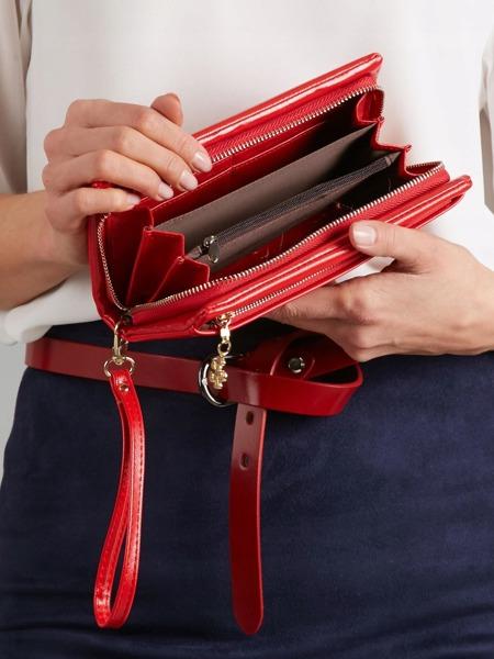 Větší praktická dámská peněženka Milano, světle červená