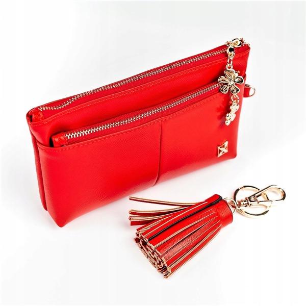 Praktická dámská peněženka, světle červená