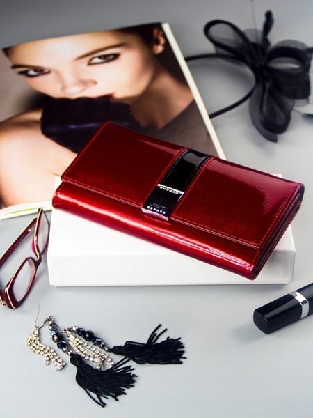 Exkluzivní lakovaná kožená dámská peněženka Freya, červená