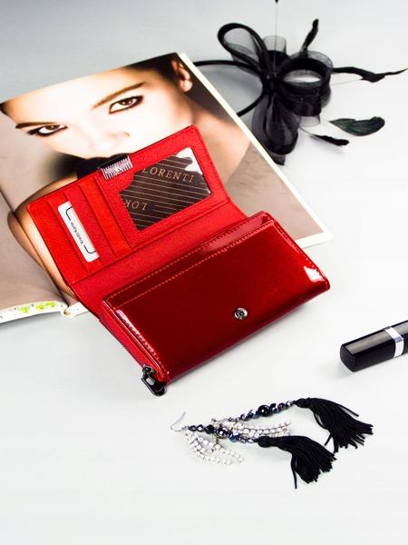 Zajímavá kožená lesklá peněženka Eva, červená