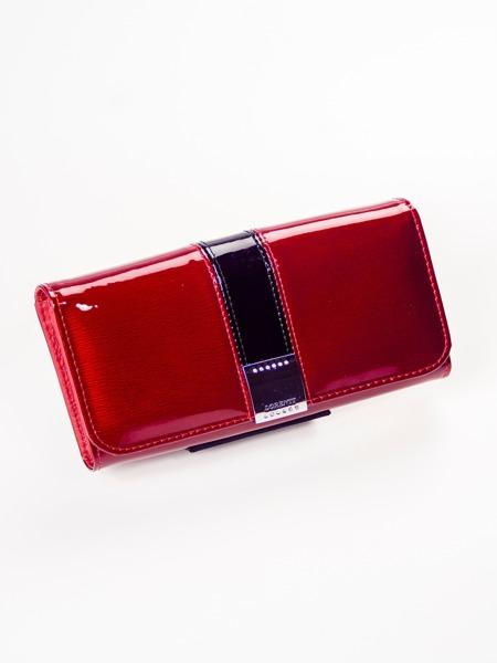 Větší kožená lesklá peněženka Eňa, červená