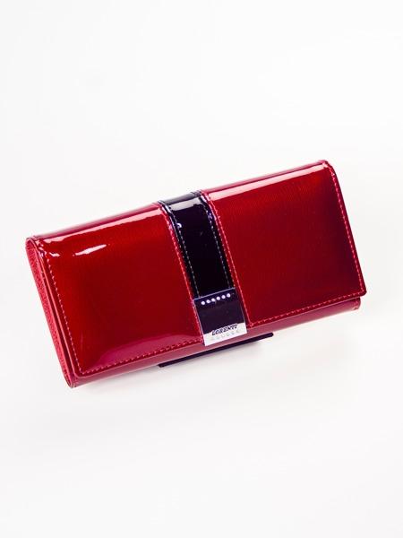 Prostorná lakovaná kožená peněženka Dina, červená