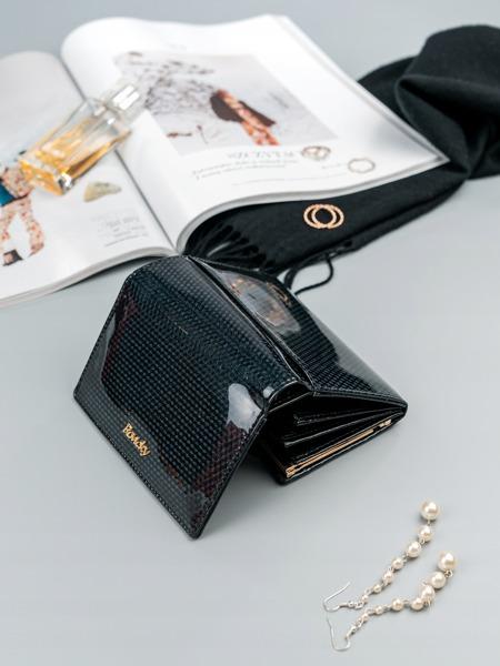 Malá moderní kožená peněženka Devon, černá