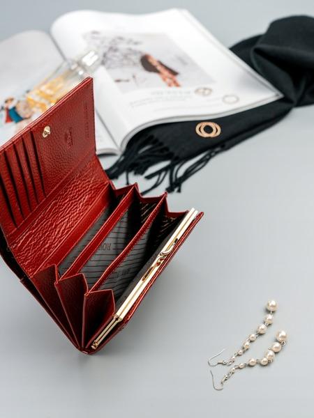 Luxusní malá dámská peněženka s růžemi, červená