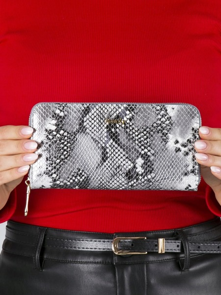 Kožená peněženka se vzorem hadí kůže na zip Luca, stříbrná