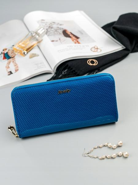 Lesklá dámská peněženka z kůže Cara, modrá