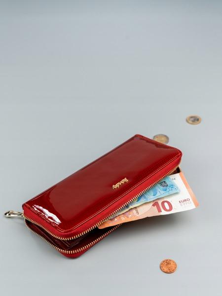 Lesklá dámská peněženka z kůže Cara, červená