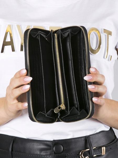 Dámská třpytivá peněženka z kůže Luna, černá