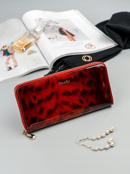 Luxusní dámská peněženka se zvířecím vzorem, červená