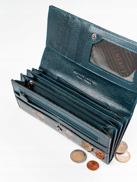 Lakovaná elegantní peněženka z přírodní kůže Ade, hnědá