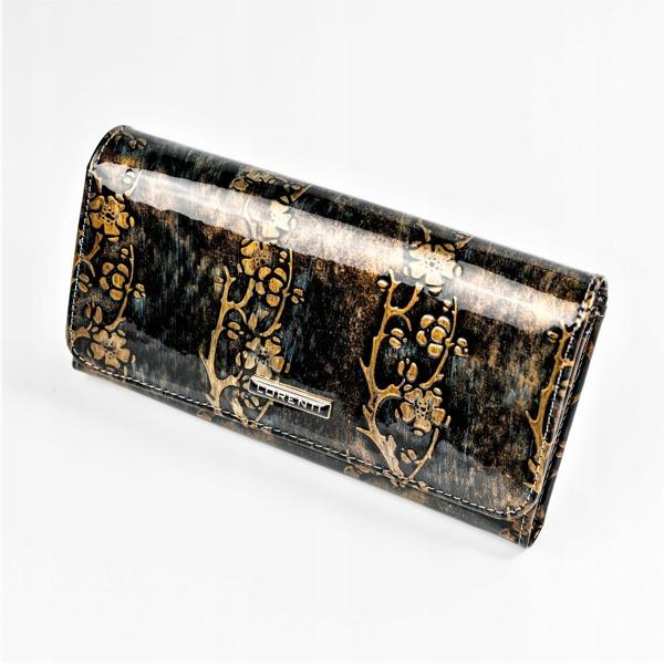 Větší lesklá peněženka s klopou Kara, zlatá