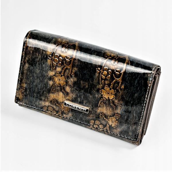 Lesklá elegantní peněženka s klopou Rio, zlatá