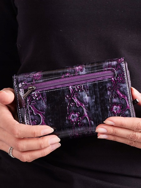 Lesklá elegantní peněženka s klopou Rio, fialová