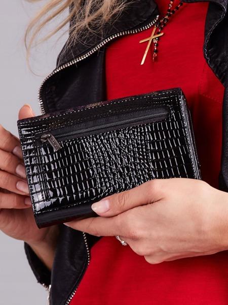 Třpytivá střední dámská kožená peněženka Flor, fialová