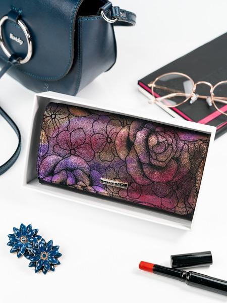 Kožená střední dámská třpytivá peněženka Lola, fialová