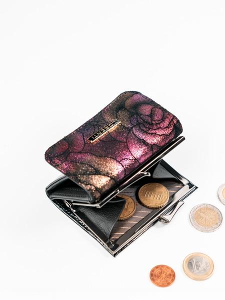 Malinká třpytivá kožená dámská peněženka Chloe, fialová
