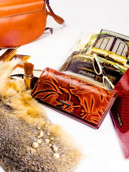 Dámská vzorovaná kožená peněženka Linda, hnědá