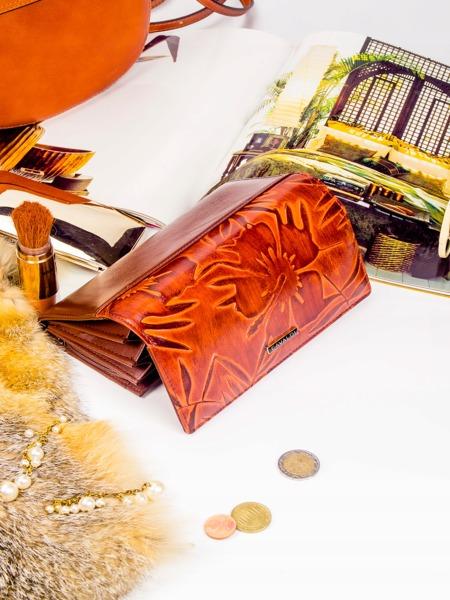 Elegantní dámská kožená Cavaldi peněženka, hnědá