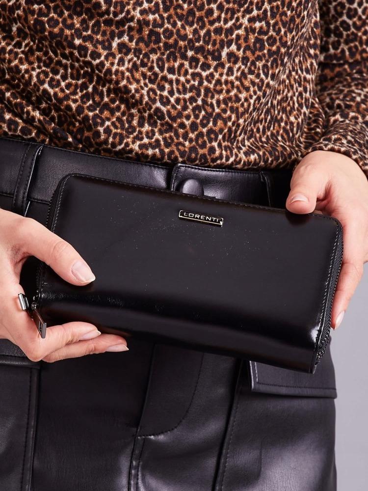 Moderní kožená dámská peněženka na zip Karah, černá