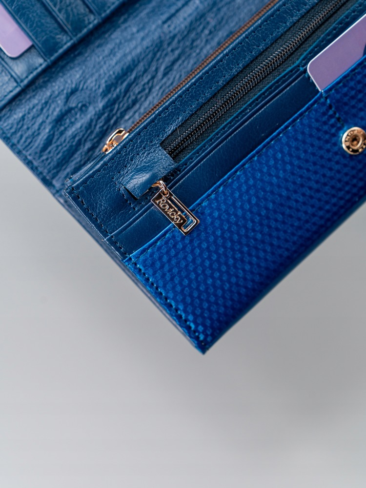 Kožená lesklá dámská peněženka Cora, modrá