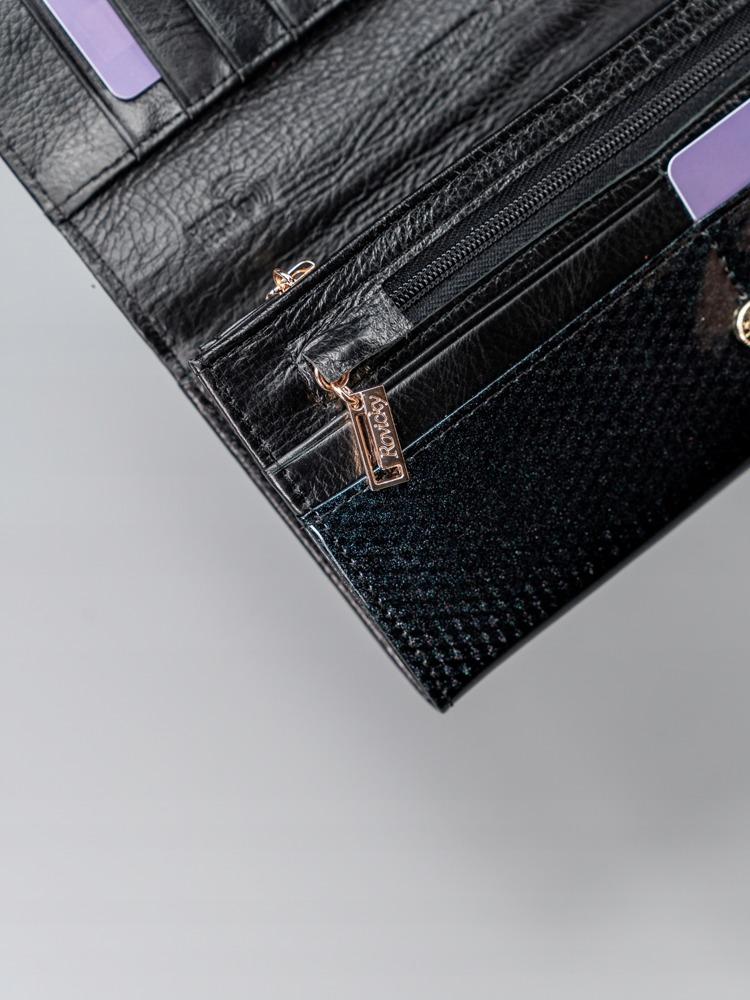 Kožená lesklá dámská peněženka Cora, černá