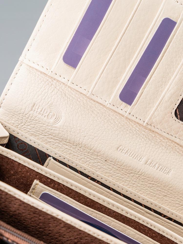 Kožená lesklá dámská peněženka Cora, béžová