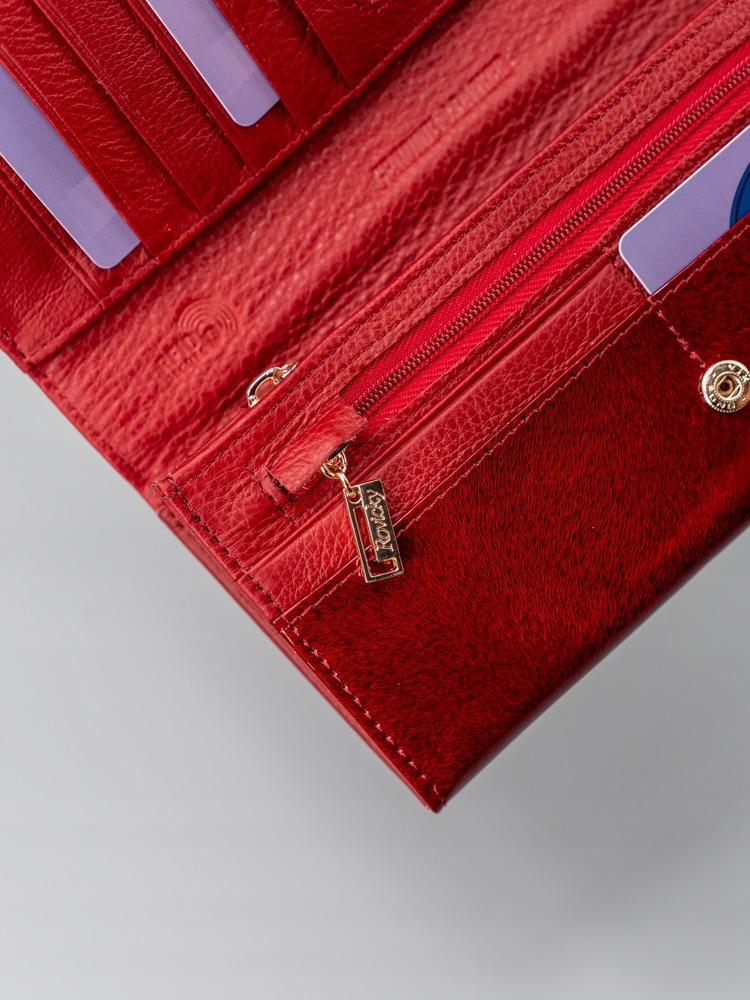 Třpytivá dámská kožená peněženka Claro, červená