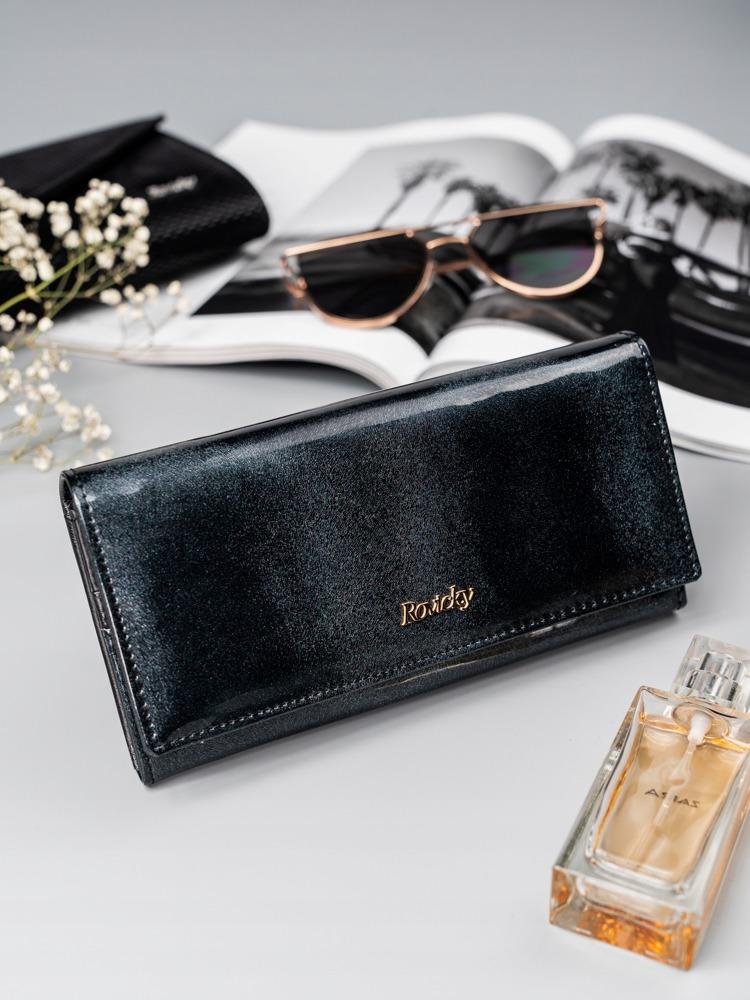 Třpytivá dámská kožená peněženka Claro, černá