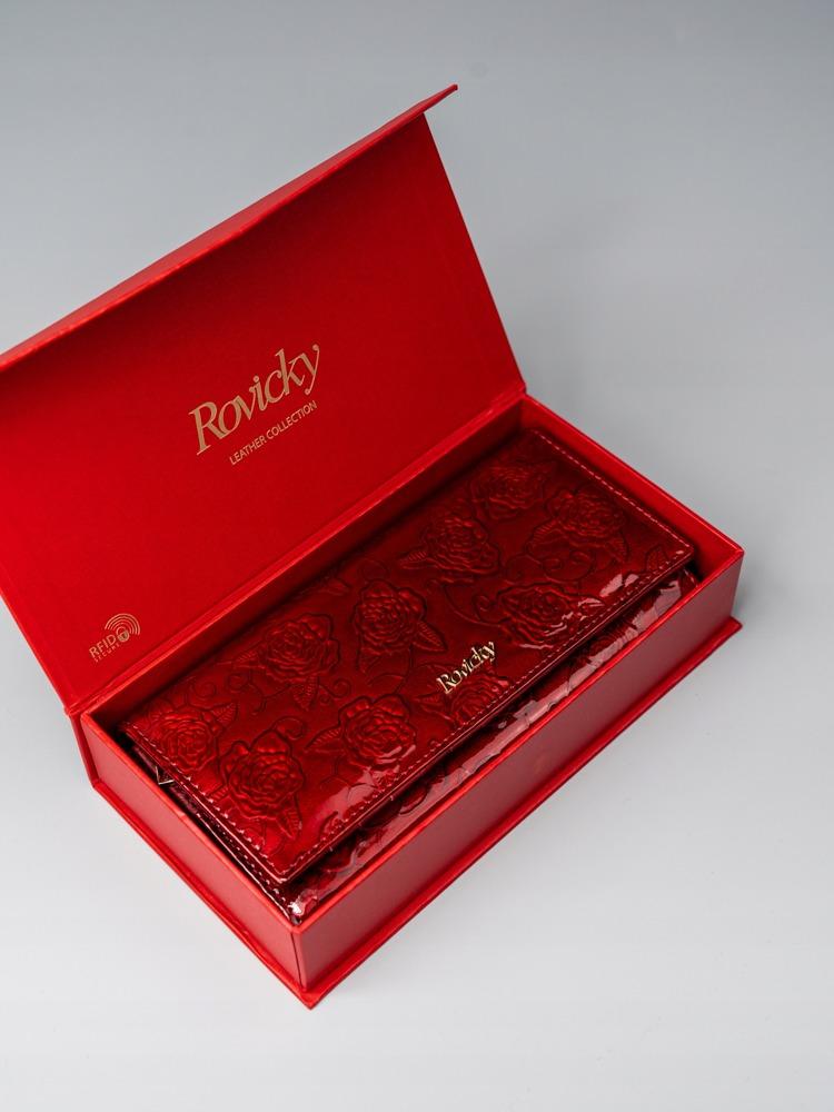 Lakovaná kožená dámská peněženka Via, červená