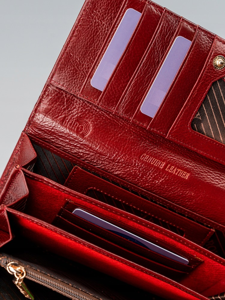 Kožená luxusní dámská peněženka Jule, červená