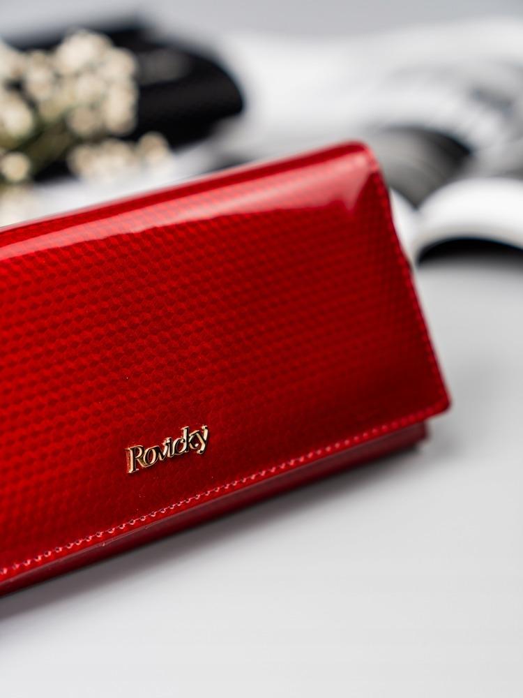 Kožená lesklá dámská peněženka Cora, červená