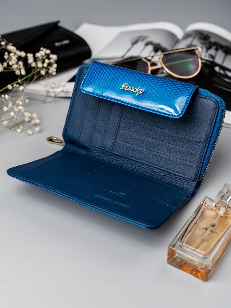 Lesklá dámská peněženka z přírodní kůže Caira, modrá