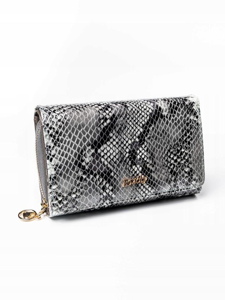 Kožená dámská peněženka se vzorem hadí kůže, stříbrná
