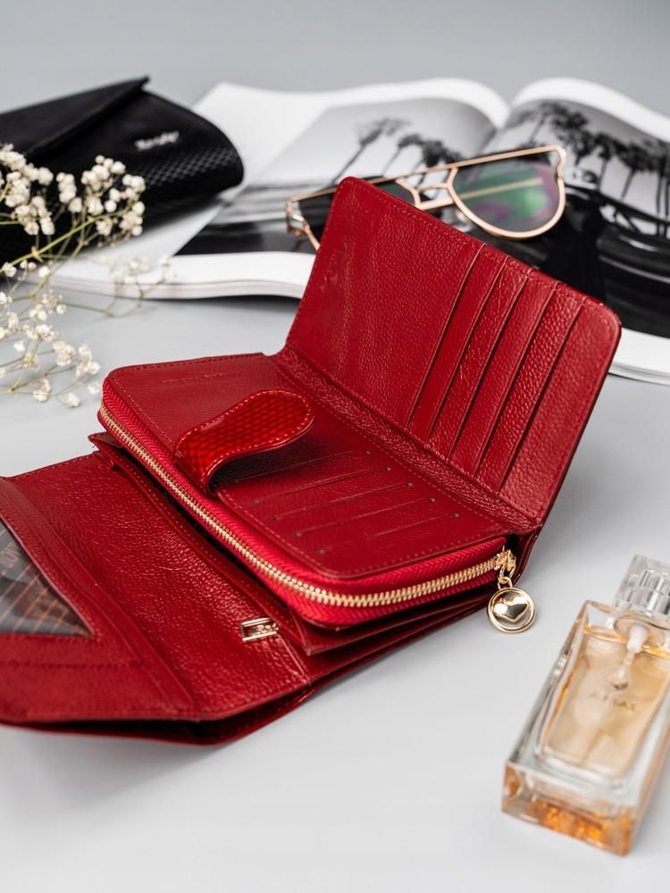 Dámská moderní peněženka z přírodní kůže Camela, červená