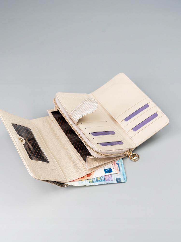 Dámská moderní peněženka z přírodní kůže Camela, béžová