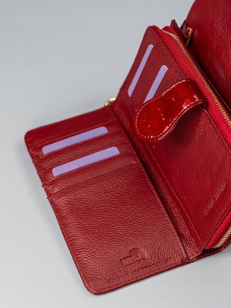 Elegantní dámská kožená peněženka, červená