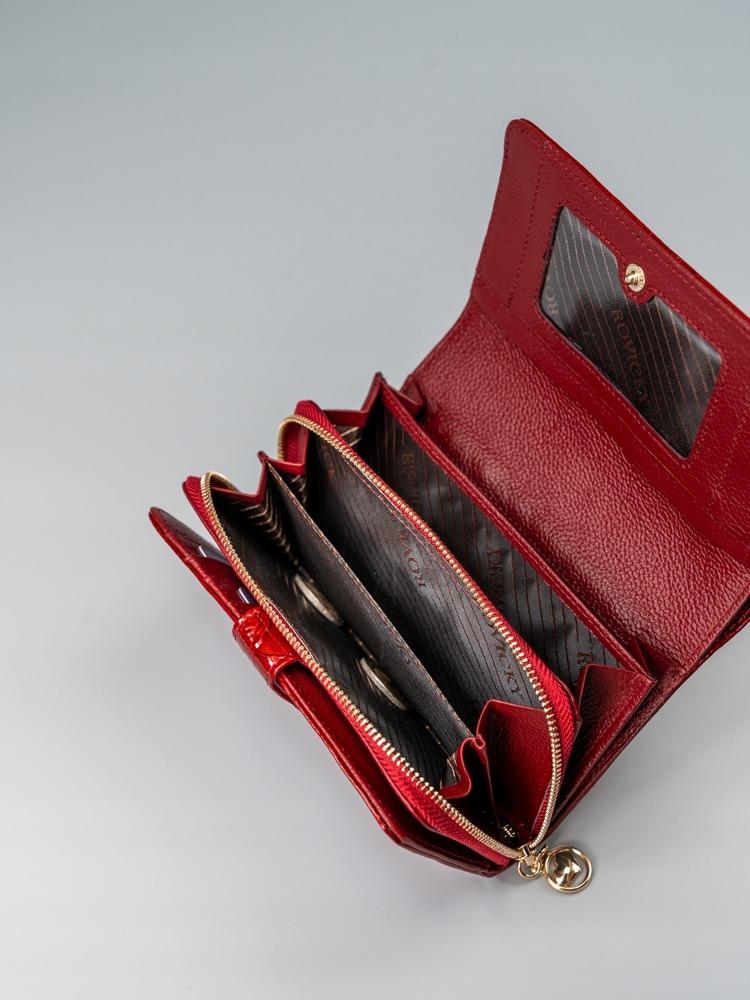 Kožená dámská peněženka s růžemi červená
