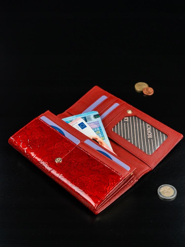 Lesklá dámská peněženka z kůže s růžemi Gioa červená