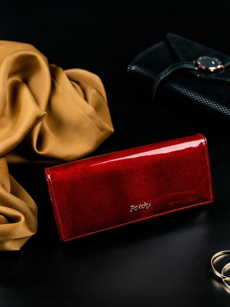 Hladká lesklá dámská peněženka z kůže Faviola červená