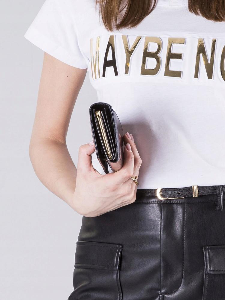 Hladká lesklá dámská peněženka z kůže Faviola černá